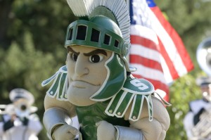 Sparty statue with the USA flag.